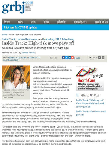 Rebecca LeClaire in the Grand Rapids Business Journal